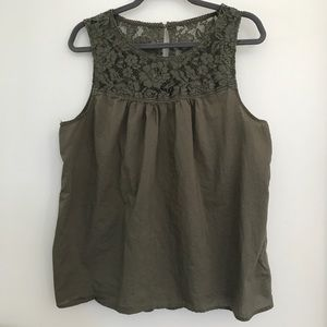 Torrid Olive Lace Collar Tank